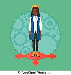 Woman choosing career way vector illustration. - An...