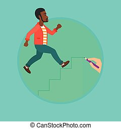 Businessman running upstairs vector illustration. - An...