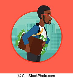Businessman carrying briefcase full of money. - An african...