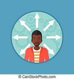 Man choosing carrer way vector illustration. - Young man...