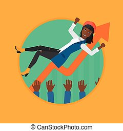 Successful business woman during celebration. - An african...