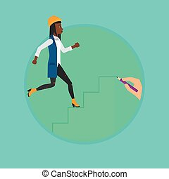 Business woman running upstairs. - African-american business...