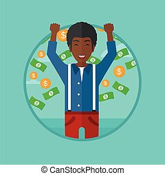 Happy man with flying money vector illustration.