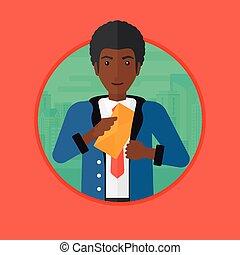 Man putting envelope in pocket vector illustration - An...