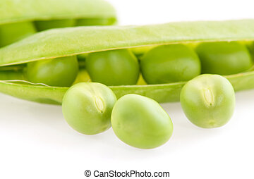 Broad beans - Several raw broad beans isolated over white