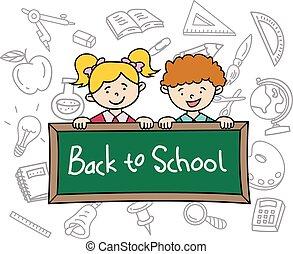 escuela, niños, espalda