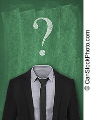 unanswered question - Suit and question mark on blackboard