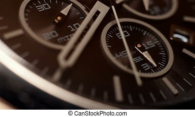 Chronograph Watch With Additional Arrows. Extra Close Up