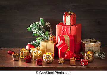red and golden christmas gift box and decoration