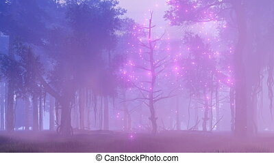 Fairy lights in misty night forest - Mysterious forest with...