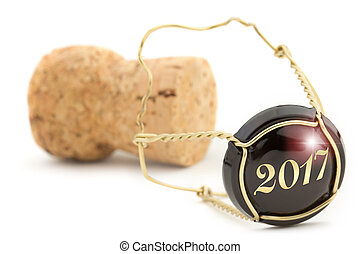 2017 champagne cork - close up of champagne cork isolated on...