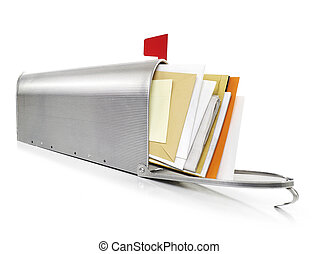 Mailbox full with correspondence, white background