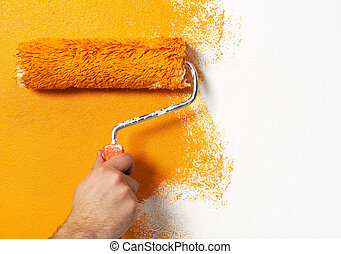 Paint roller - Hand with paint roller