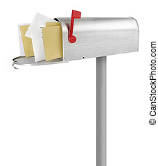 Mailbox with envelopes - Mailbox full with envelopes, white...