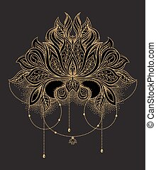 Beautiful hand drawn ornamental gold lotus flower. Ethnic patterned mandala in line art style. Vector illustration on black