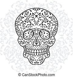 Hand drawn sugar skull Dia de los Muertos vector...