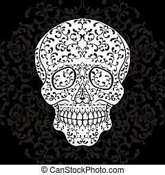 Hand drawn sugar skull on black Dia de los Muertos vector...