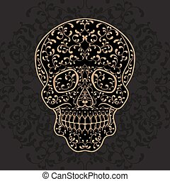 Hand drawn gold sugar skull Dia de los Muertos vector...