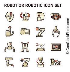 Robot icon set - Robot or robotic vector icon set design.
