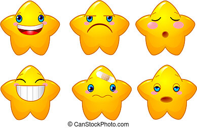 Set of smileys stars - Set of characters of yellow stars...