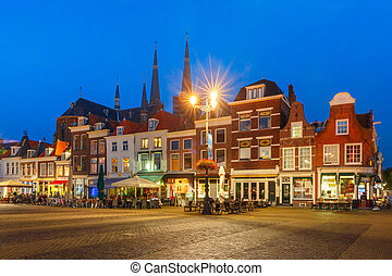 Markt square at night in Delft, Netherlands - Typical Dutch...
