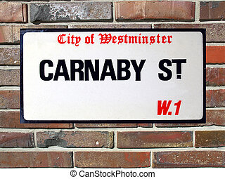 Carnaby Street sign in the City of Westminster, London