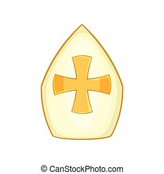 Pope hat icon, cartoon style - Pope hat icon in cartoon...