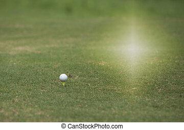 fosses, à, a, plat, herbe, pour, golf