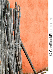 Fence and Stucco Home - Background image of a stucco wall...
