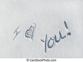 Love Cold Weather - Message written in a fresh layer of snow...