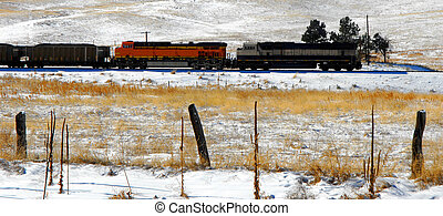 Hauling Coal - Coal train hauls coal across the plains...