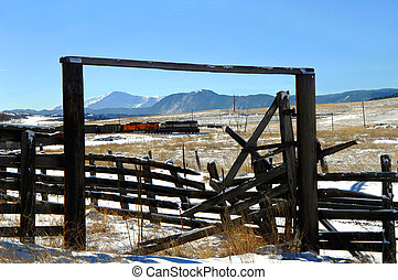 Corral Frames Train - Old corral frames a coal train as it...