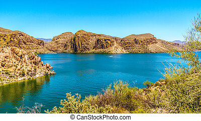 Canyon Lake in the Desert Landscape - Canyon Lake and the...