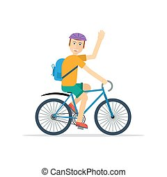 Happy man on bicycle - Vector character of happy man on...