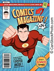 Comic Book Cover Template - Illustration of a cartoon...
