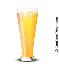 Pint of lager - A pint of cold lager over a white...