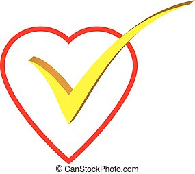 heart with a right tick in the center