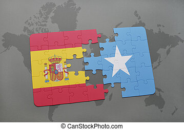 puzzle with the national flag of spain and somalia on a...