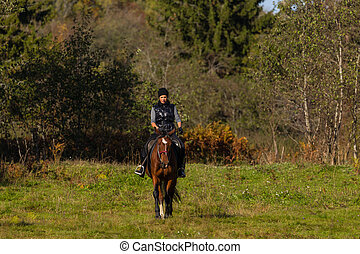 Elegant attractive woman riding a horse on a field
