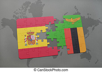 puzzle with the national flag of spain and zambia on a world...