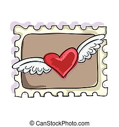 postage stamp - heart with wingswith brown background...