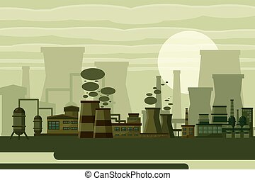 Thermal power plant concept Industrial power plant building...