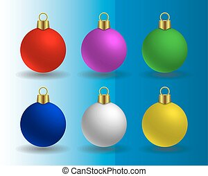 vector set of Christmas balls of different colors matte...