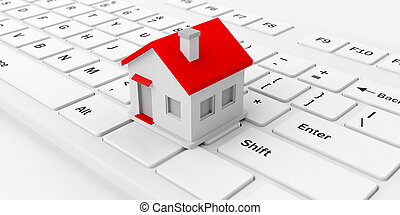 3d rendering house on a keyboard