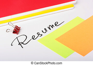 Resume - On a white background an inscription - Resume with...