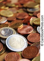 euro money coins showing finance or savings concept