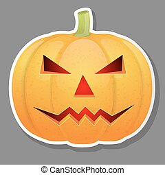 Halloween pumpkin isolated on grey background.