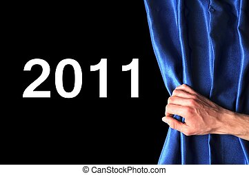 new year 2011 and curtain - new year 2011 concept with blue...