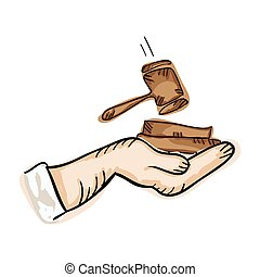 hand holding law hammer. draw design. vector illustration