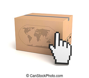 global shipping cardboard box concept  3d illustration